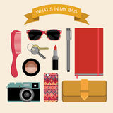 Vector flat image content of woman`s bag with comb, purse, cosmetic, keys, liner etc. Illustration What is inside my bag Royalty Free Stock Photography