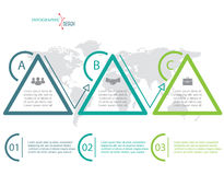 Vector flat infographic elements with triangles. Vector flat infographic elements with triangle, 3 options and world map. Template for diagram, graph royalty free illustration