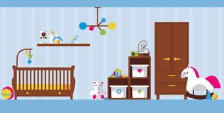 Vector flat interior illustration with newborn kid room. Baby bed, toys, wardrobe, boxes and shelve for child accessories on light. Blue background Royalty Free Stock Photos