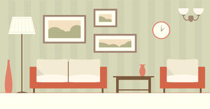 Vector flat interior of living room. Royalty Free Stock Images