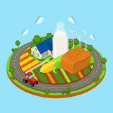Vector flat isometric countryside farm: harvest, field, tractor. Flat 3d isometric countryside farm infographics. Farmhouse tractor on circle road field and huge Stock Photos