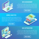 Vector flat isometric horizontal analytics banner set. Data management, Mobile analytics, Data optimization concept design elements Stock Photos