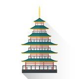 Vector flat japan multistory pagoda illustration  Royalty Free Stock Photo
