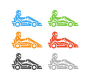 Vector flat karting logo and symbol. Stock Image