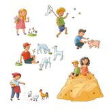 Vector flat children at countryside scenes set Royalty Free Stock Images