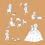 Vector flat children at countryside scenes set Royalty Free Stock Photography