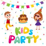 Vector flat kids at party with confetti, flags. Air balloons set. Caucasian boy dancing, girl in purple dress, party hat, glasses whistling near bix birthday Royalty Free Stock Image