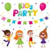 Vector flat kids at party with confetti, flags. Vector flat cartoon kids at party with confetti, flags, air balloons set. Boys girls singing at microphone Royalty Free Stock Photos