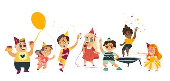 Vector flat cartoon kids at party set. Vector flat kids at party set. Funny girls whistling, singing at microphone dancing , running with balloon, boys jumping Stock Photo
