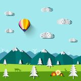 Vector Flat Landscape with Flowers on Meadow. Mountains and Blue Sky with Hot Air Balloon Vector Illustration