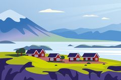 Free Vector Flat Landscape Minimalistic Illustration Of Wild Nordic Nature View: Sky, Mountains, Water, Cozy Houses On Sea Coast. Stock Image - 151340101