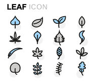 Vector flat leaf icons set. On white background Royalty Free Illustration