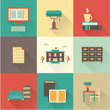 Vector flat library icons. Flat vector flat library icons modern set design royalty free illustration
