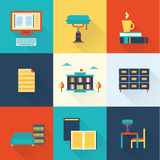 Vector flat library icons Stock Image
