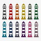 Vector flat lighthouse icon with set of 12 colors. Vector icon royalty free illustration