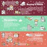 Vector flat line art house property banner set Stock Image