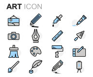 Vector flat line art icons set Royalty Free Stock Photography