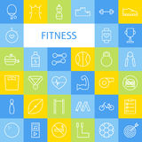 Vector Flat Line Art Modern Fitness Sports and Healthy Lifestyle. Icons Set. Fitness Icons Set over Colorful Tile. Vector Set of 36 Sport and Activities Modern Royalty Free Stock Images