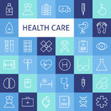 Vector Flat Line Art Modern Healthcare and Medicine Icons Set Stock Photo