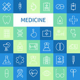 Vector Flat Line Art Modern Medicine and Healthy Life Icons Set Stock Images