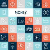 Vector Flat Line Art Modern Money and Finance Icons Set. Banking Icons Set over Colorful Tile. Vector Set of 36 Business Concept and Office Life Modern Line Stock Images