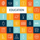 Vector Flat Line Art Modern School and Education Icons Set Stock Photos