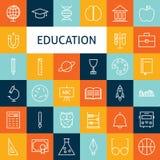 Vector Flat Line Art Modern School and Education Icons Set Stock Photos