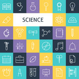 Vector Flat Line Art Modern Science Education and School Icons S. Et. Research Icons Set over Colorful Tile. Vector Set of 36 School and Knowledge Modern Line Royalty Free Stock Image