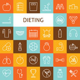 Vector Flat Line Art Modern Sport and Dieting Icons Set Royalty Free Stock Image
