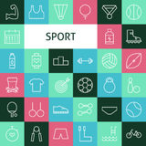 Vector Flat Line Art Modern Sports and Recreation Icons Set Royalty Free Stock Image