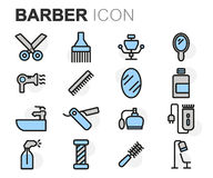 Vector flat line barber icons set Stock Photo