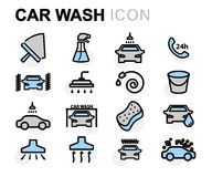 Vector flat line car wash icons set Stock Photos