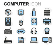 Vector flat line computer icons set Royalty Free Stock Images
