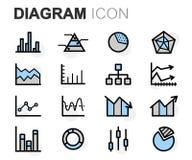Vector flat line diagram icons set. On white background Stock Image