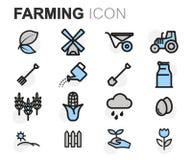 Vector flat line farming icons set Royalty Free Stock Photo