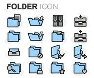Vector flat line folder icons set. On white background Royalty Free Stock Photography