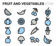 Vector flat line fruit and vegetables icons set. On white background Stock Images