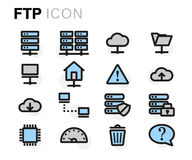 Vector flat line ftp icons set Stock Images