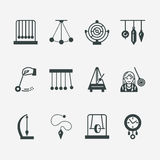 Vector flat line icon of pendulum types. Newton cradle, metronome, table pendulum, perpetuum mobile, gyroscope. Linear Royalty Free Stock Images