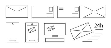 Vector flat line icon set. Communication theme. Stock Photography