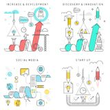 Increase and Development, Discovery and Innovation, Social. Vector flat line illustration. Increase and Development, Discovery and Innovation, Social media stock illustration
