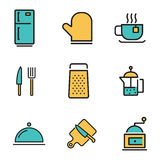 Vector flat line kitchen and cooking icons set Stock Photography