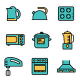 Vector flat line kitchen and cooking icons set Royalty Free Stock Photo