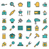 Vector flat line kitchen and cooking icons set Royalty Free Stock Photography