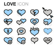 Vector flat line love icons set Royalty Free Stock Images