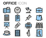 Vector flat line office icons set. On white background Royalty Free Stock Photo
