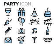 Vector flat line party icons set Stock Photos