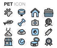 Vector flat line pet icons set Royalty Free Stock Image