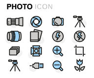 Vector flat line photo icons set Stock Images