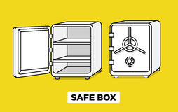Vector flat line safe boxes open and closed, locked with code lock, empty safe box. Hand drawn illustration. Isometric. View Royalty Free Stock Images